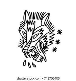 wolf traditional tattoo flash