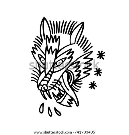 Wolf Traditional Tattoo Flash Vector De Stock Libre De Regalias