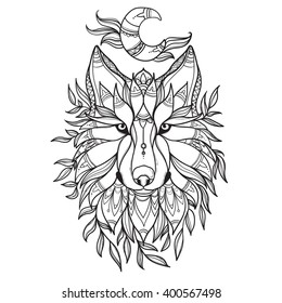 Wolf in tribal style with moon and leafs.Detail zentangle wolf for coloring page,tattoo, shirt design effect and logo. Hand-drawn wolf side view with ethnic floral doodle pattern.