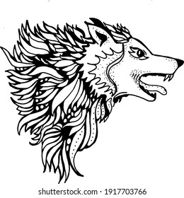 wolf vector, abstract illustration, black and white, coloring book
