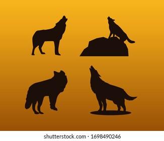 wolf vector silluet icon illustration