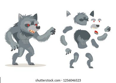 Wolf werewolf fantasy monster medieval action RPG game character layered animation ready character vector illustration