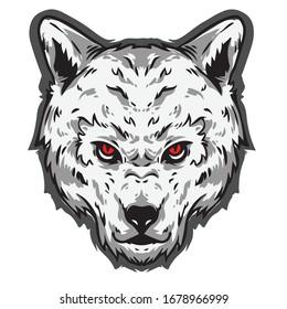 wolf white head logo mascot