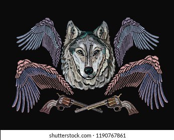 Wolf, wings and guns, classical embroidery, music art template for clothes, textiles, t-shirt design. Rock n Roll embroidery, rock music print