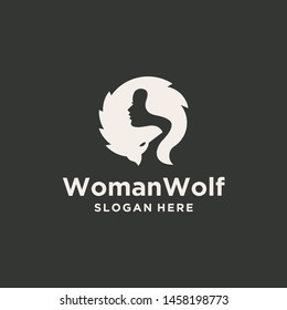 Wolf woman logo design negative space creative ilustration graphic template