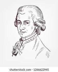 Wolfgang Amadeus Mozart famous vector sketch portrait