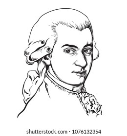 Wolfgang Amadeus Mozart. Great composer and musician. Hand drawn vector portrait isolated on white background.