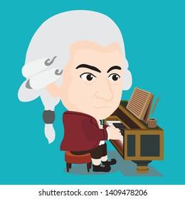 Wolfgang Amadeus Mozart playing Piano