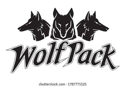 Wolfpack Design Silhouette Emblem Symbol