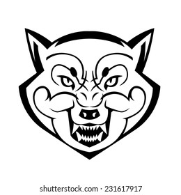 wolf's head showing teeth harsh beast hunter forest vector can be used as a tattoo or logo