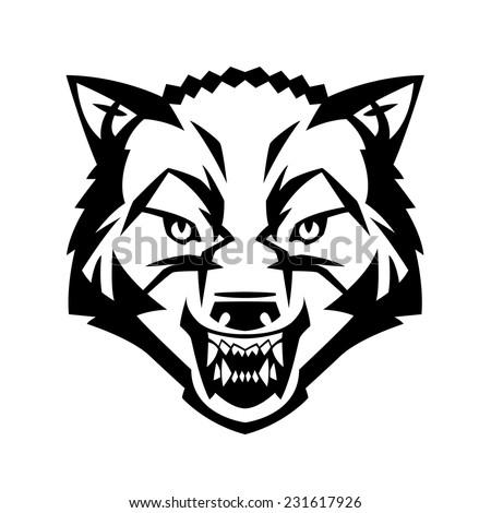 wolfs head showing teeth harsh beast stock vector royalty free