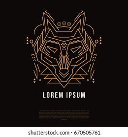 Wolf's linear head. Geometric stylized silhouette. Vector illustration