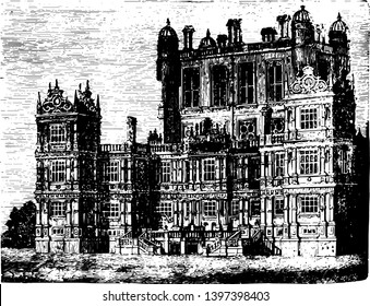 Wollaton Hall a country house standing on a small but prominent hill in Wollaton used at angles and jambs the Elizabethan Renaissance vintage line drawing or engraving illustration.