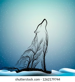 wolves extinction concept, spirit of dying wolf due the forest extinction, wolf look like tree branches in the winter forest, protect the animal and forest, vector