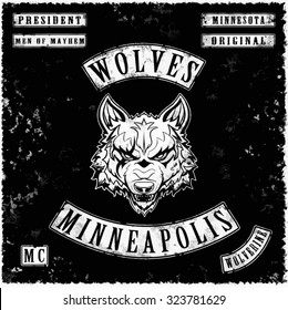 wolves gang leather jacket tee shirt graphic design