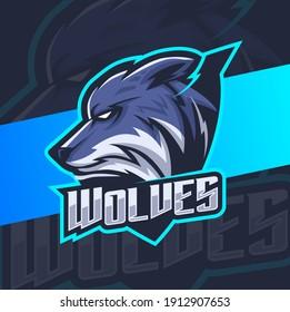 wolves head mascot esport logo designs