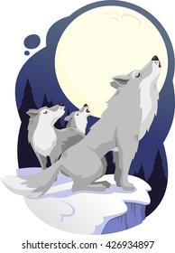 wolves howling to full moon vector cartoon illustration