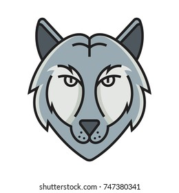 Wolves icon vector head design illustration