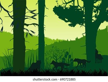 Wolves pack silhouettes and forest silhouette. vector