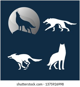 Wolves silhouette set