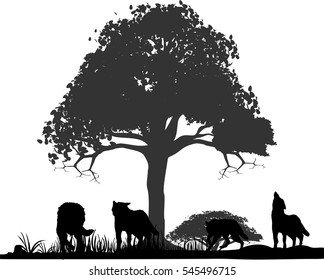 Wolves silhouettes under tree isolated vector illustration