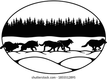 Wolves, Wolf pack - forest landscape, Wildlife Stencils - Forest Silhouettes for Cricut, Wildlife clipart, png Cut file, iron on, vector, vinyl shirt design.