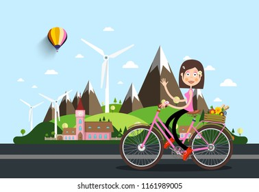 Womam on Bicycle with Castle and Mountains on Background. Vector Landscape.