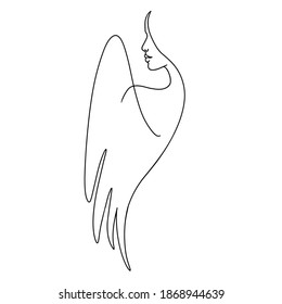 Woman abstract face, one line drawing. Hand drawn outline illustration. Continuous line. Portret female. Vector illustration