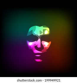 woman abstract neon light face illustration, easy all editable