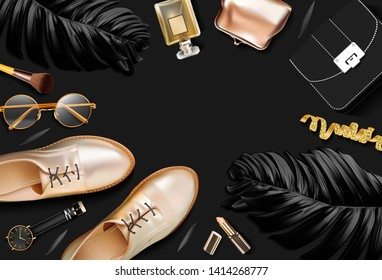 Woman accessories in business style, lipstick, gadgets, shoes,  gold, jewelry, bag, glasses and other luxury businesswoman attributes on black background, fashion industry, top view. Vector