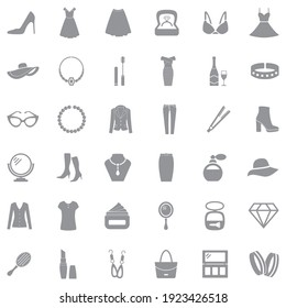 Woman Accessories Icons. Gray Flat Design. Vector Illustration.