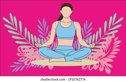 Woman activities. Slim sportive young woman doing sports, fitness, yoga,  exercises. Flat vector sport illustration modern design isolated on autumn background . Design good for web - Vector
