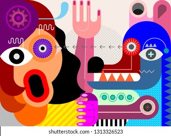 A woman is afraid of a big angry dog. Contemporary art vector illustration. The dog attacked the woman. The woman is screaming.