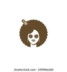 Woman Afro Logo Template Flat Style Design Vector Illustration