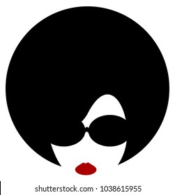 woman with afro and sunglasses
