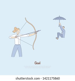 Woman aiming bow with arrow at coworker, man floating down on umbrella, hostile competitive environment banner