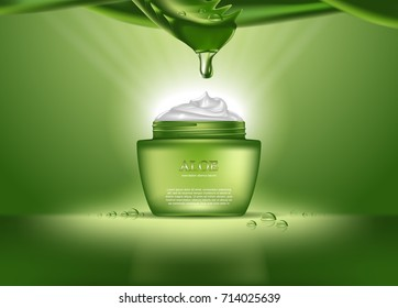 Woman aloe vera realistic perfume or female cosmetics for skincare. Health product for body in form of cream with drop over bottle or container. Package for deodorant or medicine essence theme
