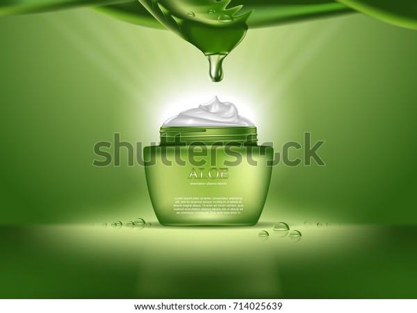 Женщина алоэ вера реалистичные духи или женская косметика для ухода за кожей. Средство для здоровья для тела в виде сливок с капля над бутылкой или контейнером. Пакет для дезодоранта или медицины сущность темы