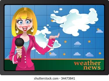 Woman anchorman vector illustration weather news