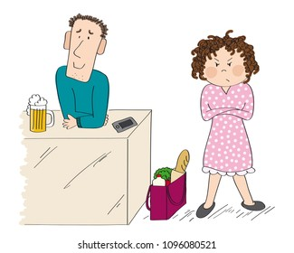 Woman angry with her husband. Woman is standing with her arms crossed, full shopping bag next to her. Man is standing and smiling, full glass of beer in front of him.