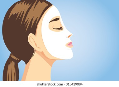 Woman applying a facial sheet mask for treatment her face. Close up shot, side view.