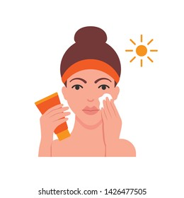 Woman is applying sun protection cream vector illustration