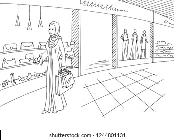 Woman in arab clothing walking in shopping mall graphic black white interior sketch illustration vector