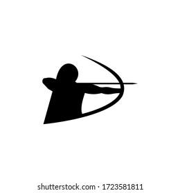 Woman archer logo design vector template