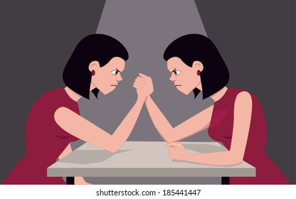 Woman arm wrestling with herself, illustrating personality issues, vector illustration