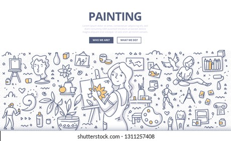 Woman artist with easel is drawing on canvas at workspace. Illustration of creativity and art. Doodle concept of art studio for web banners, hero images, printed materials