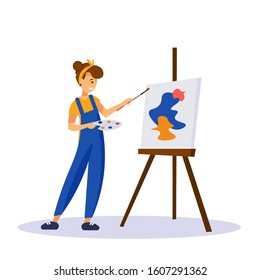 Woman artist painting colorful abstract shapes on canva isolated on white background. Young creative girl in blue overalls standing near easel and holding palette and brush. Flat vector illustration.