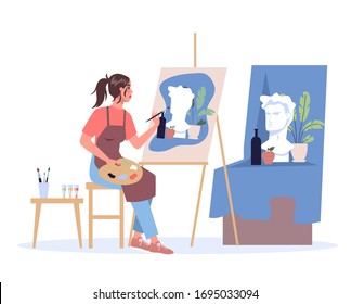 Woman artist sitting at the easel and painting. Young painter with palette. Creative profession. Vector illustration in flat style isolated