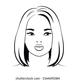 Woman asiatic young face with short hair, black outline on white background