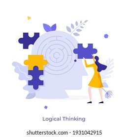 Woman assembling jigsaw puzzle and head with maze inside. Concept of logical thinking, analytical mind, human intelligence, problem solving, brainstorming. Modern flat colorful vector illustration.
